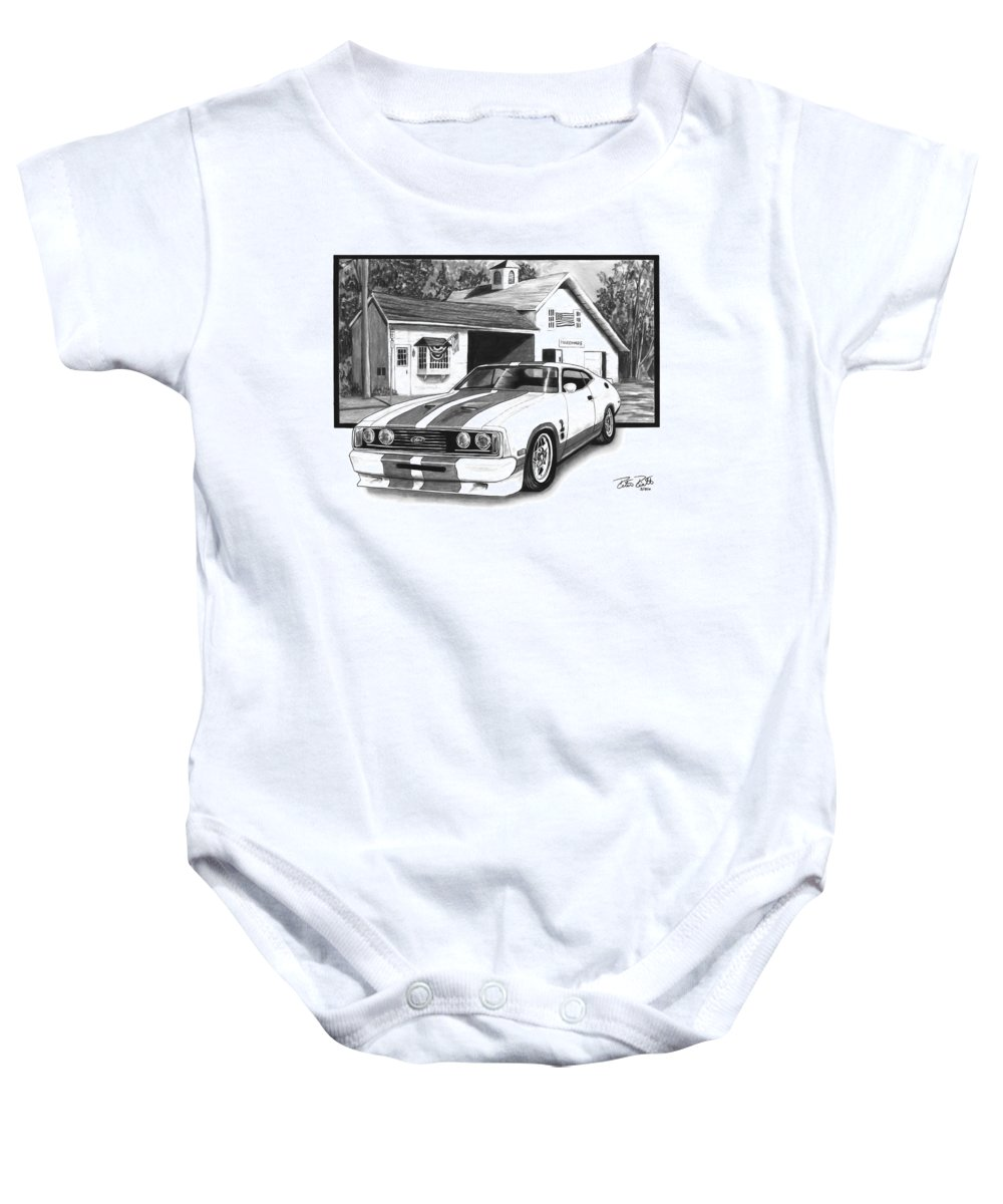 American Heartland 1978 Ford Cobra Baby Onesie featuring the drawing American Heartland by Peter Piatt
