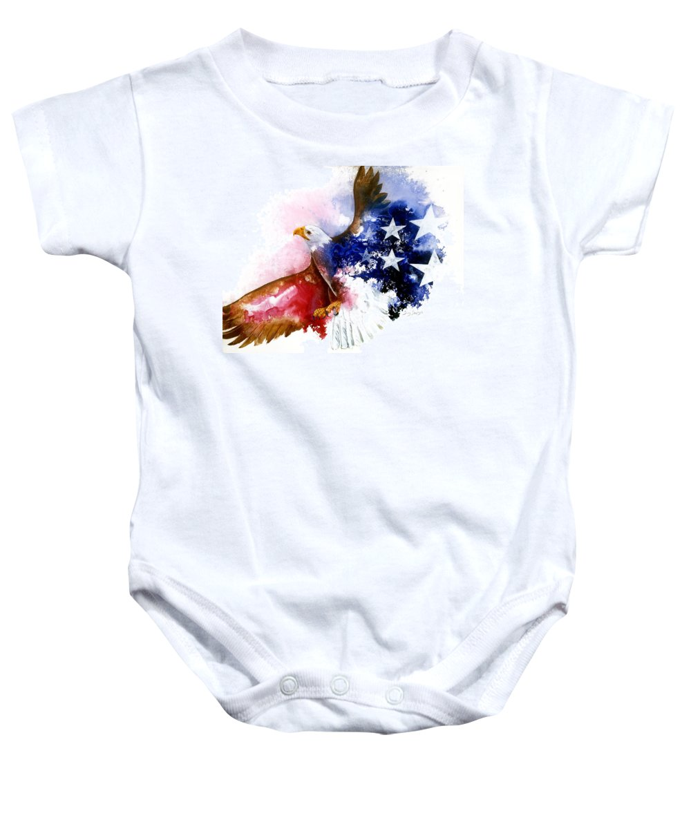 Bird Baby Onesie featuring the painting American Spirit by Sherry Shipley