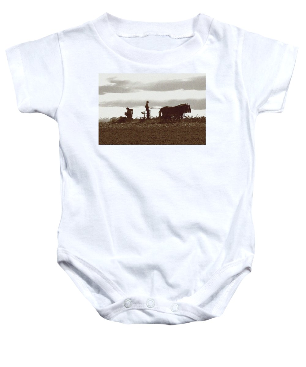 Amish Baby Onesie featuring the photograph Amish Farmer 2 by Lou Ford