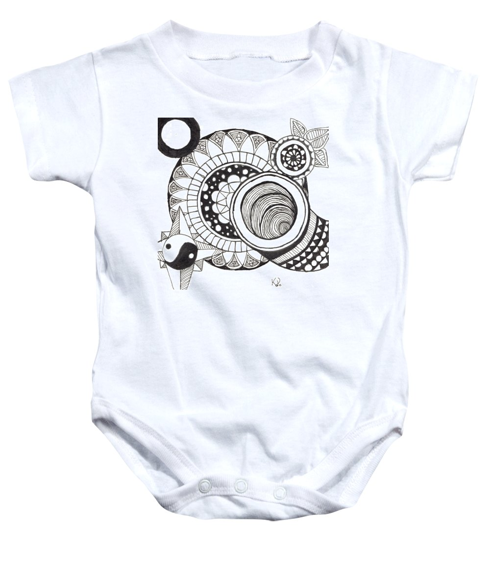 Abstract Baby Onesie featuring the drawing Among Other Things by Kitty Perkins