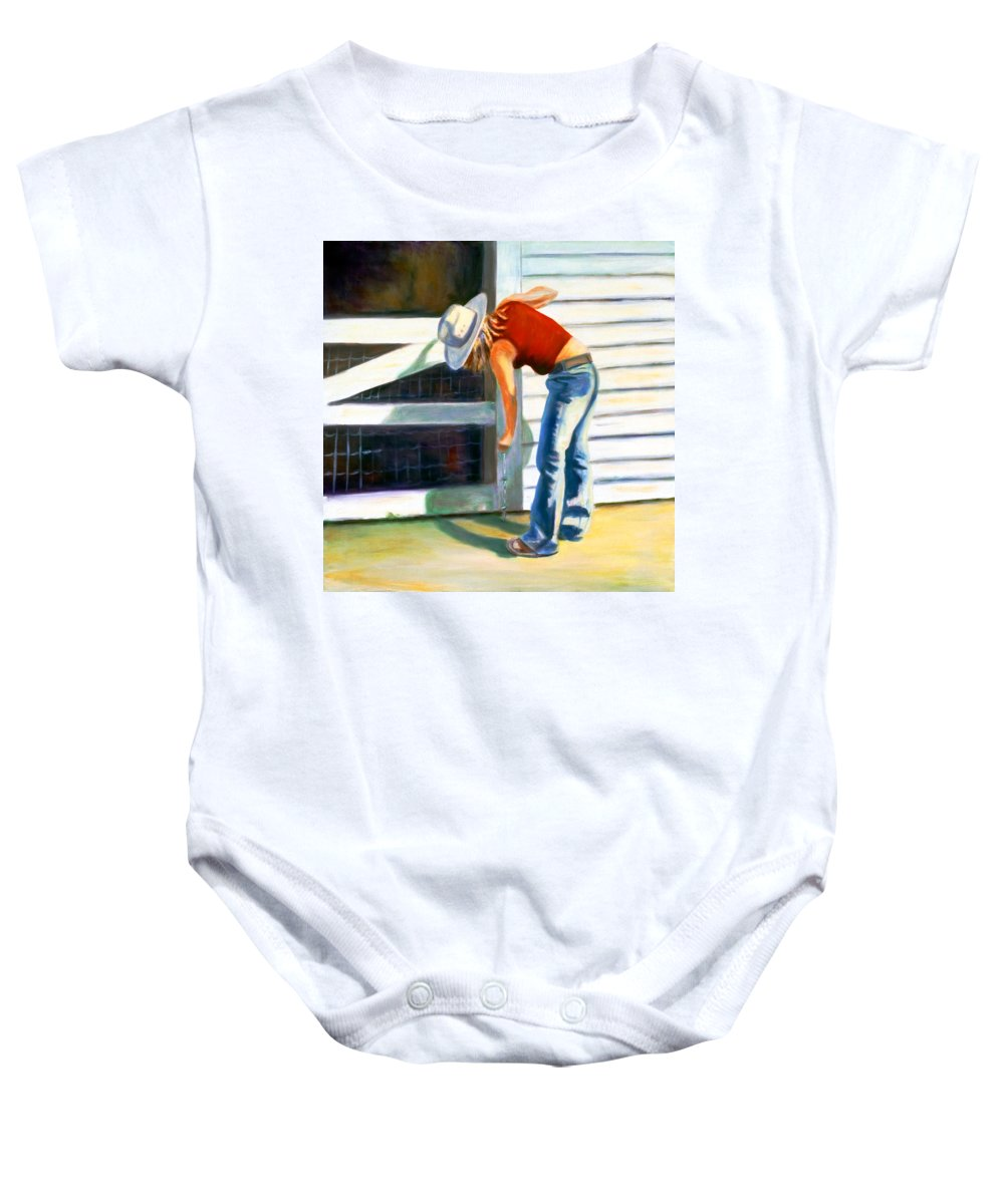 Red Baby Onesie featuring the painting An American Girl by Shannon Grissom