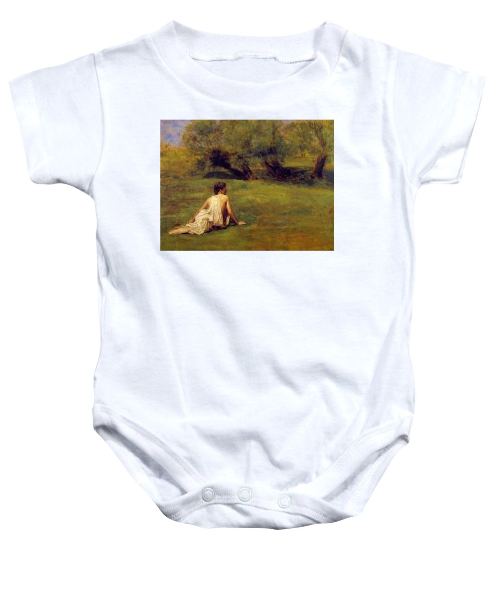 An Baby Onesie featuring the painting An Arcadian by Eakins Thomas