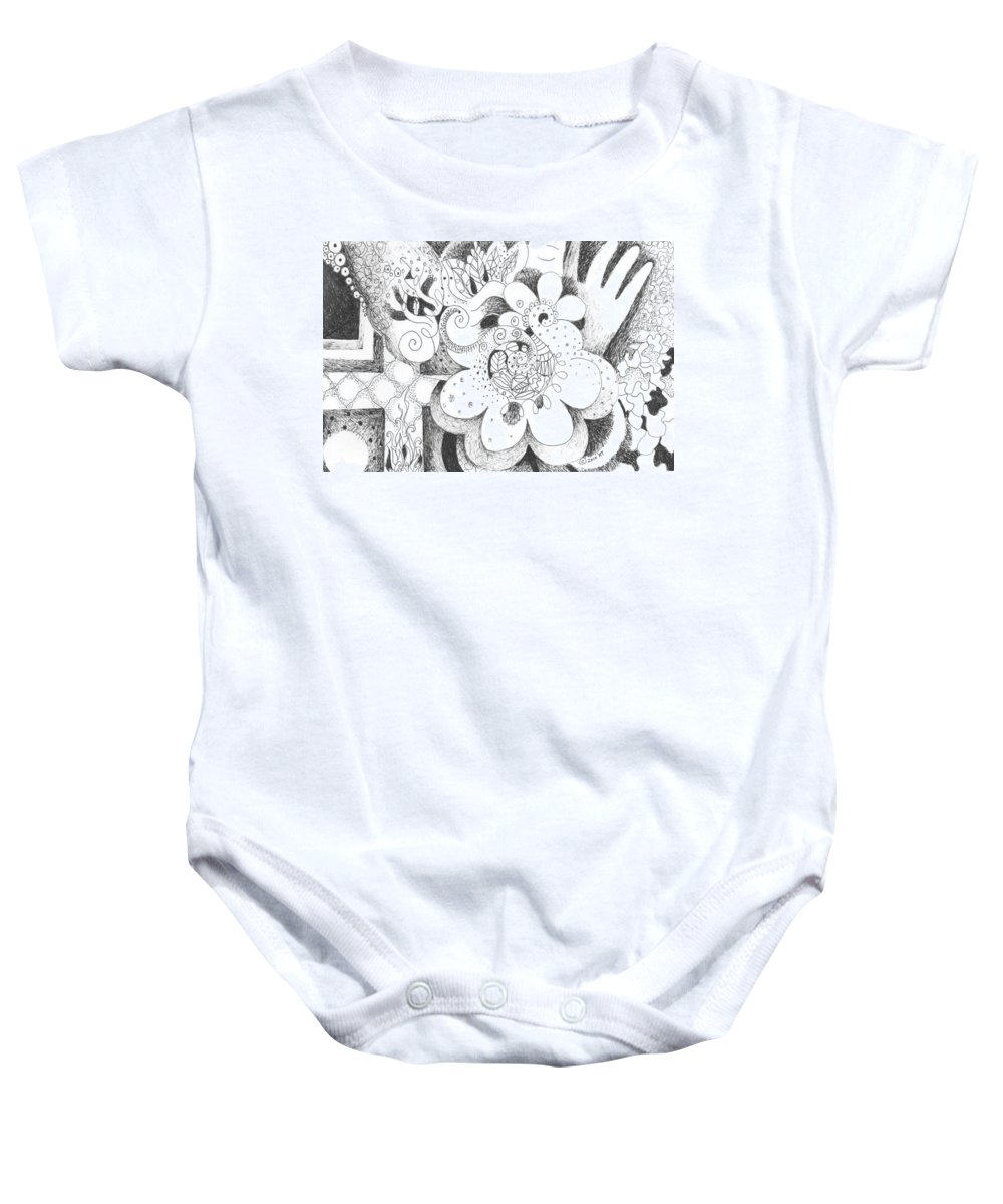 Challenge Baby Onesie featuring the drawing An Ordeal by Helena Tiainen