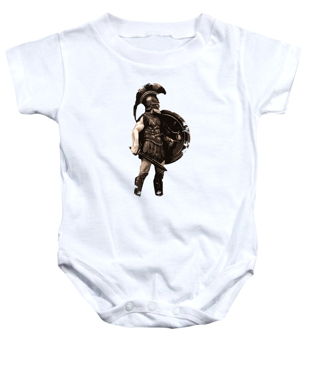Spartan Warrior Baby Onesie featuring the painting Ancient Greek Hoplite by Andrea Mazzocchetti