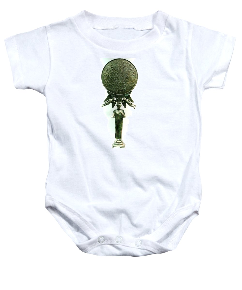 Ancient Bronze Mirror Baby Onesie featuring the photograph Ancient Mirror by Andonis Katanos