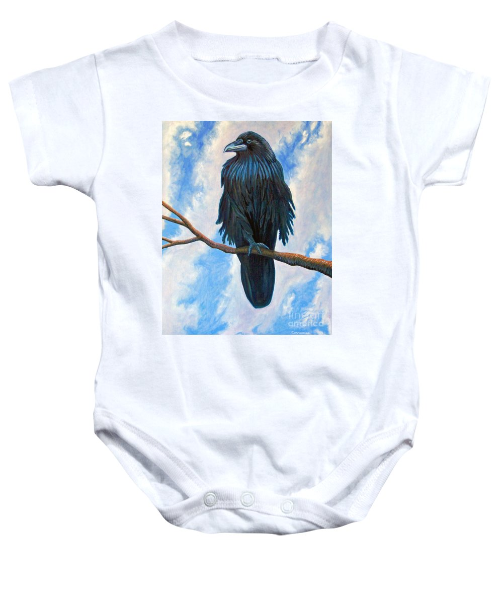 Raven Baby Onesie featuring the painting And All That I See by Brian Commerford