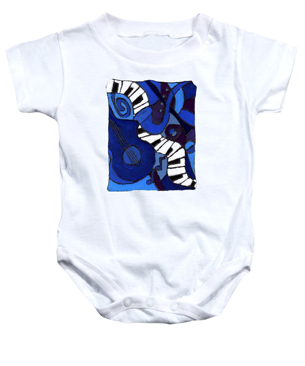 Jazz Baby Onesie featuring the painting and All That Jazz two by Wayne Potrafka