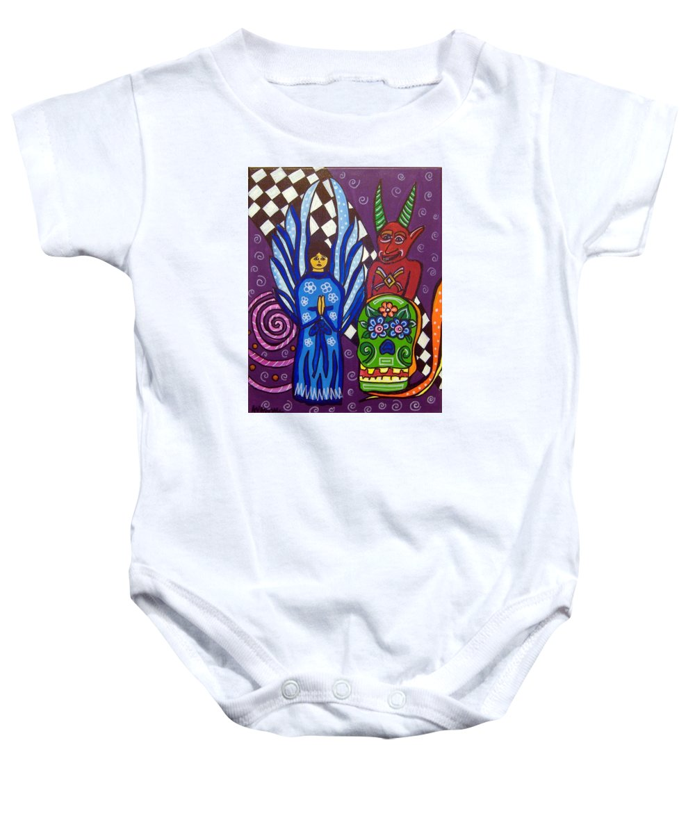 Angel Baby Onesie featuring the painting Angel And Devil-day Of The Dead by Anggelyka Apostle
