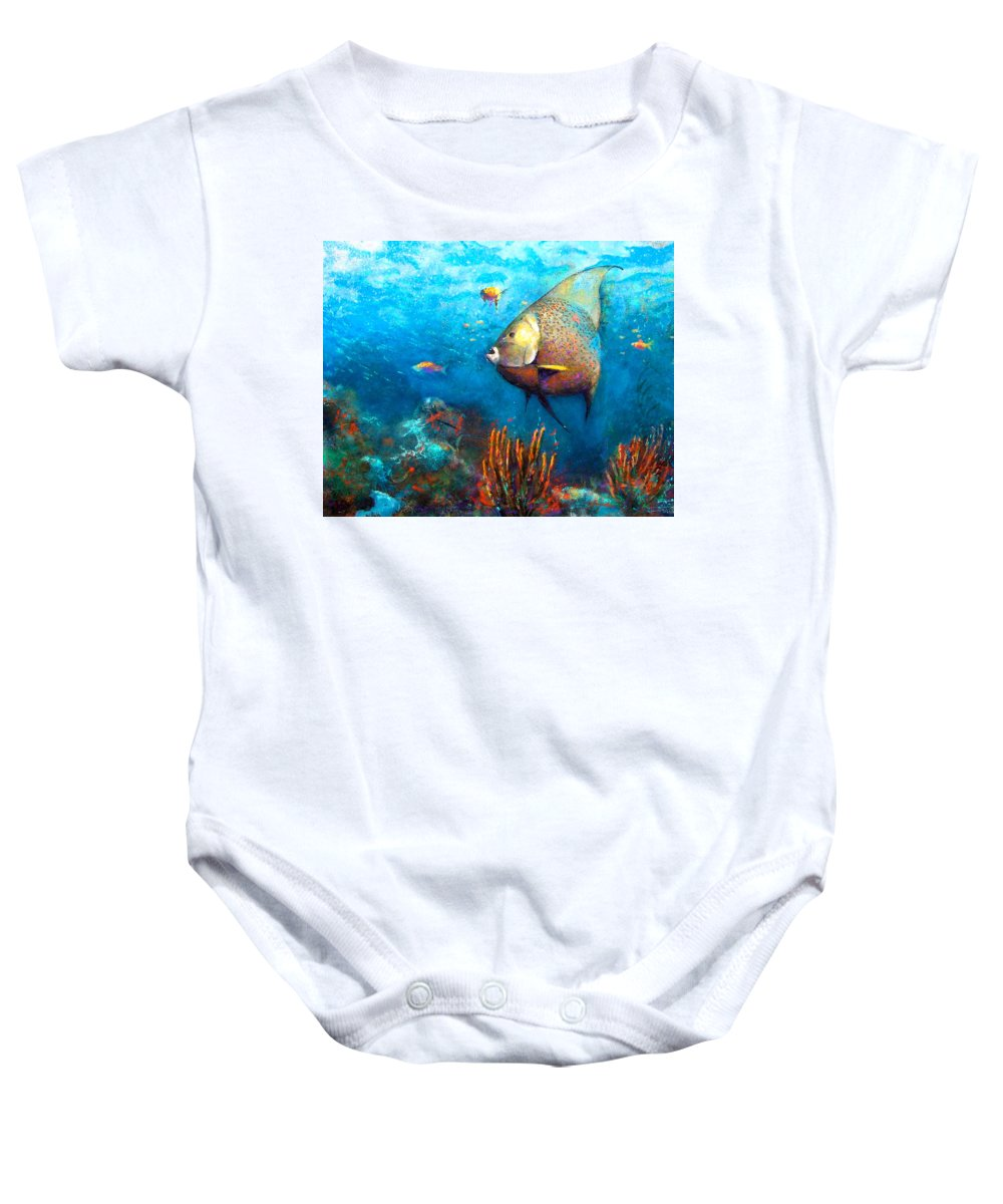 Ocean Baby Onesie featuring the painting Angel Fish by Andrew King