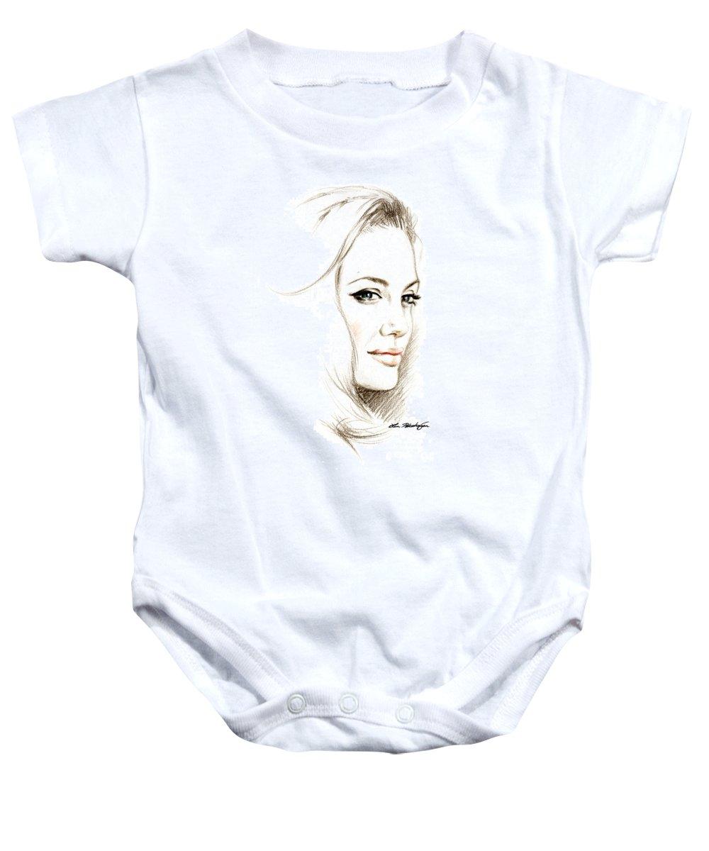 Lin Petershagen Baby Onesie featuring the drawing Angelina Jolie by Lin Petershagen