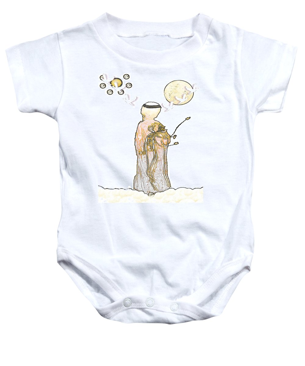 Angel Baby Onesie featuring the mixed media Angelita Blanco by Pepita Selles