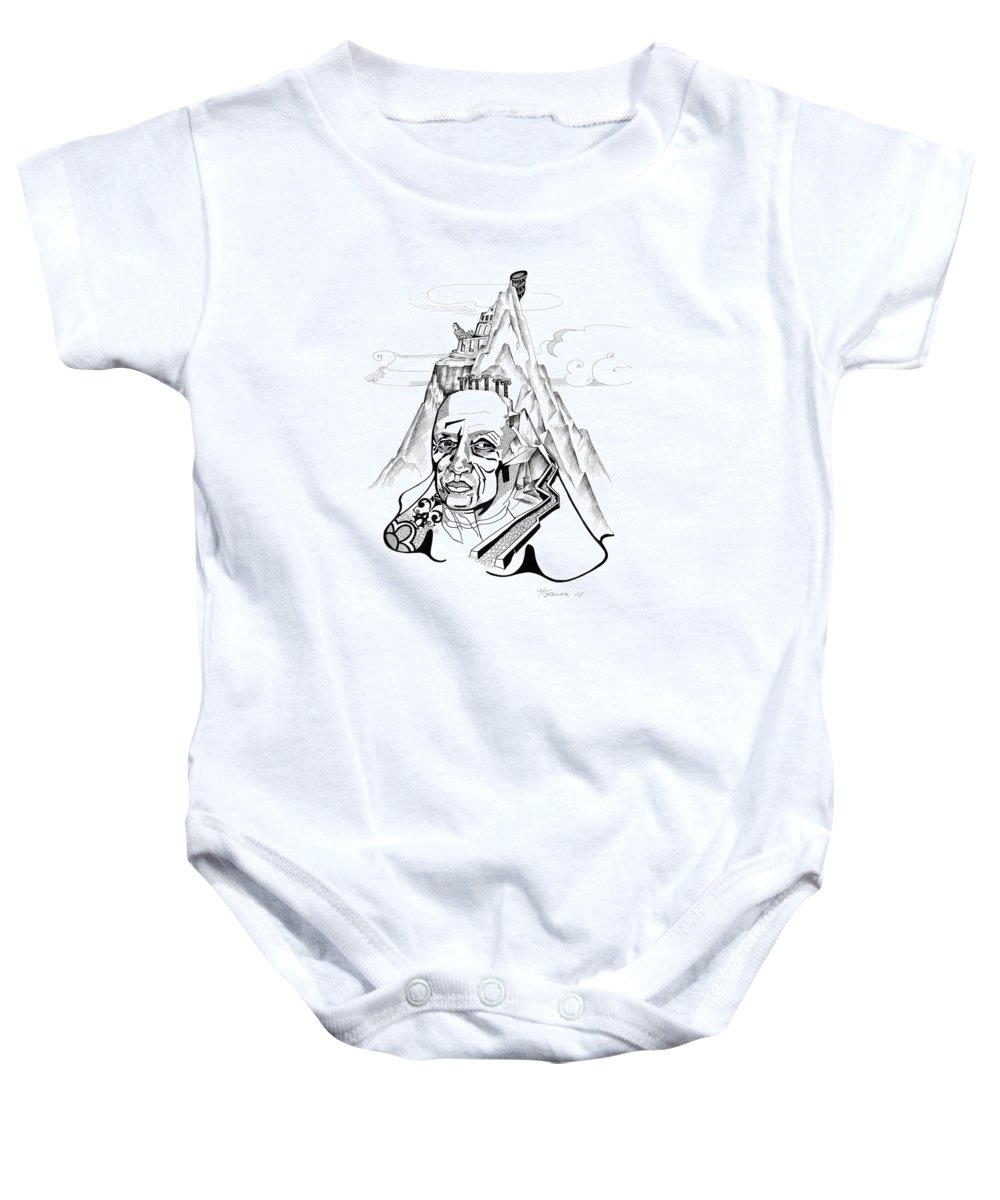 Portrait Baby Onesie featuring the drawing Anna Tylkina by Yelena Tylkina