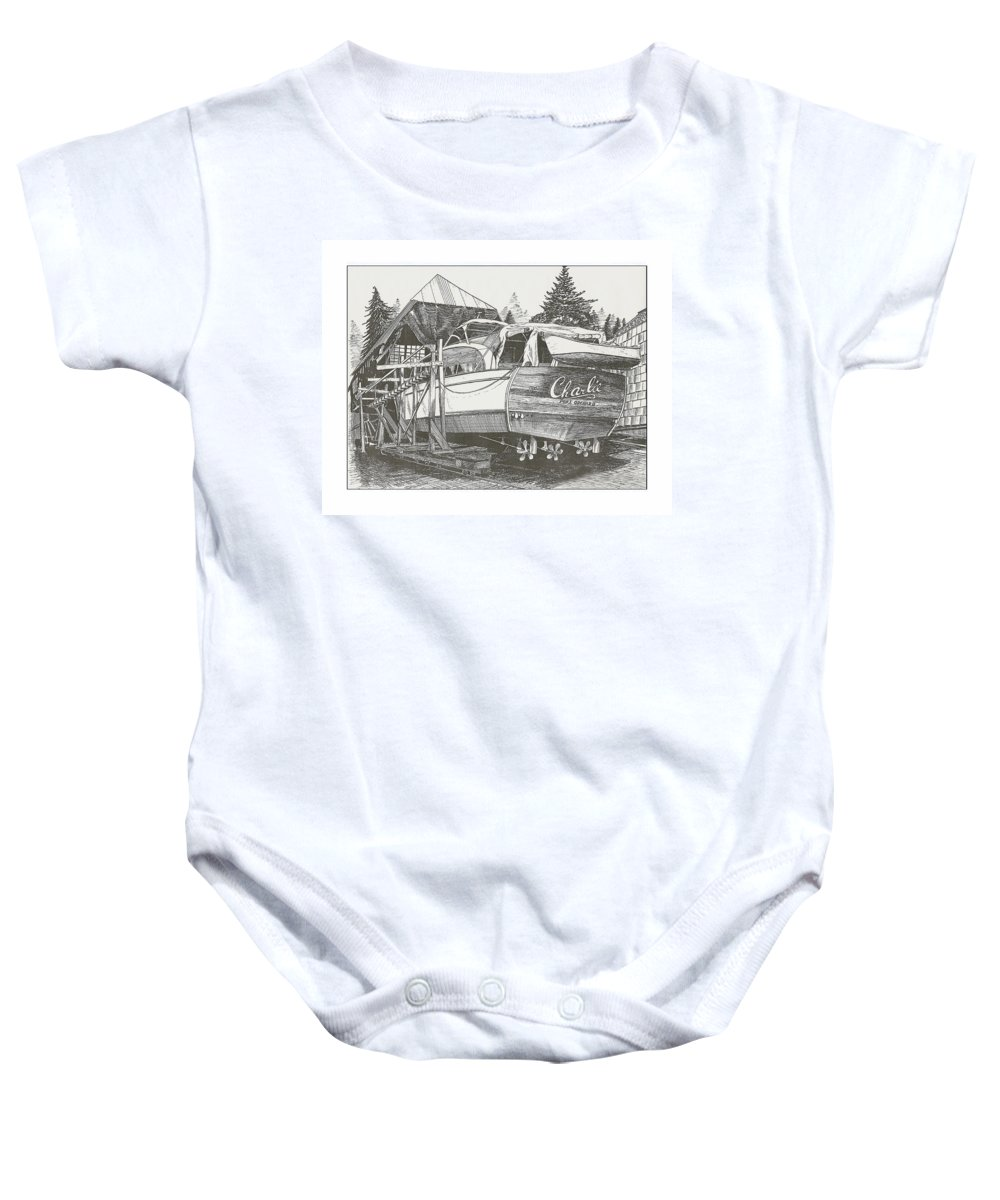 Nautical Yacht Portraits Baby Onesie featuring the drawing Annual Haul Out Chris Craft Yacht by Jack Pumphrey