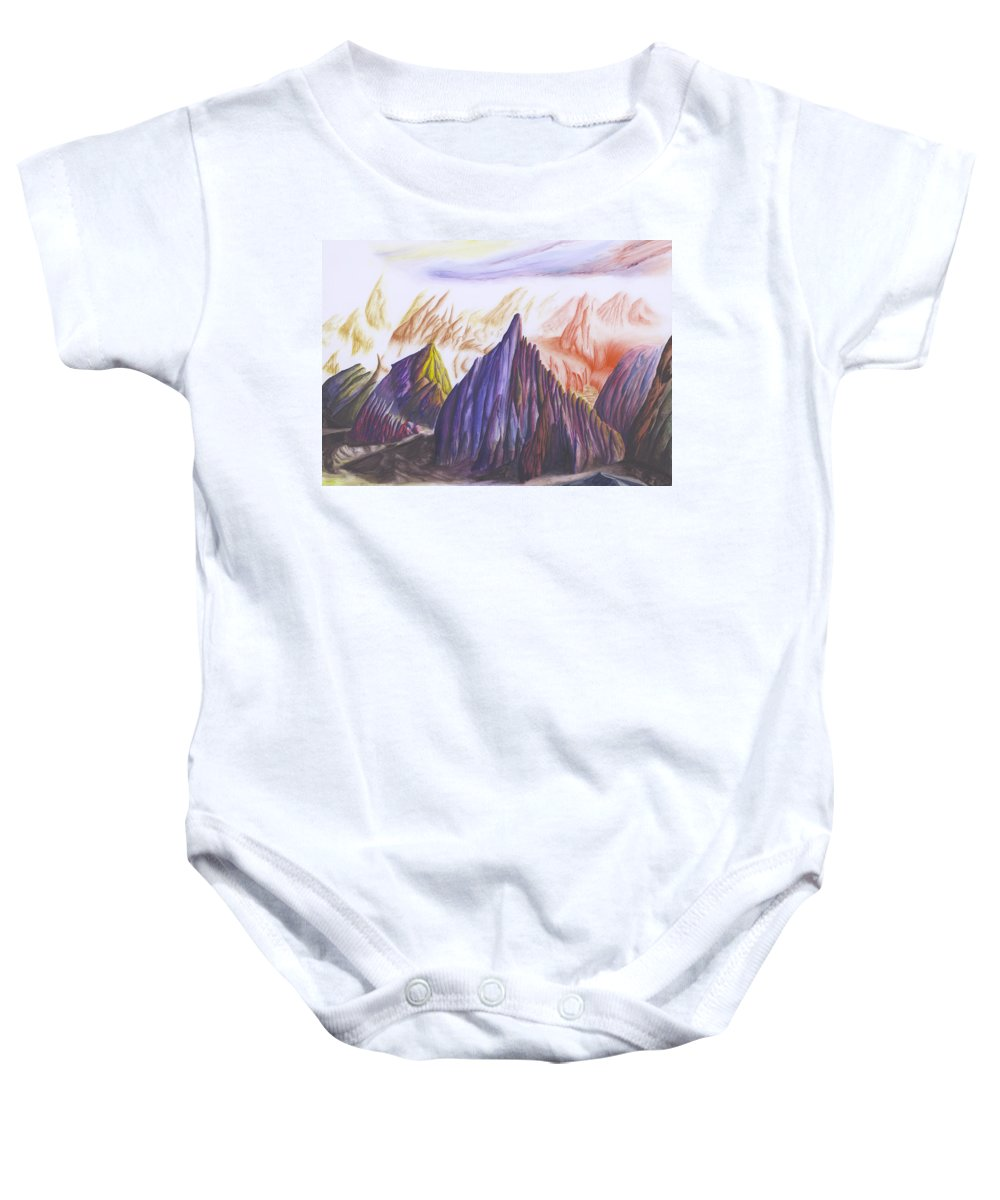 Landscape Baby Onesie featuring the painting Another Land by Mike Thompson