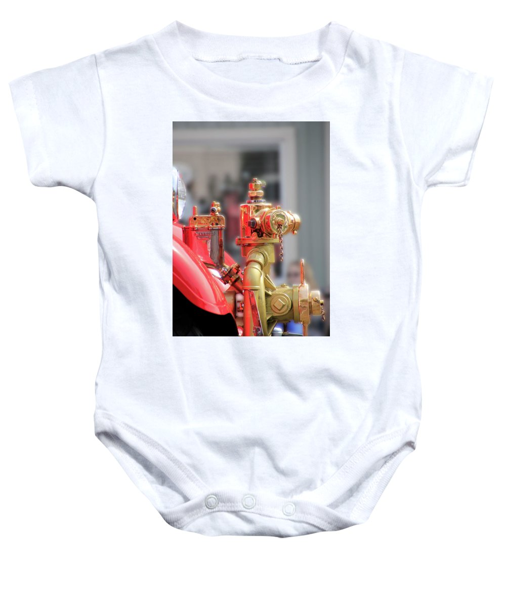 Fire Baby Onesie featuring the photograph Antique Fire Truck by Pauline Darrow
