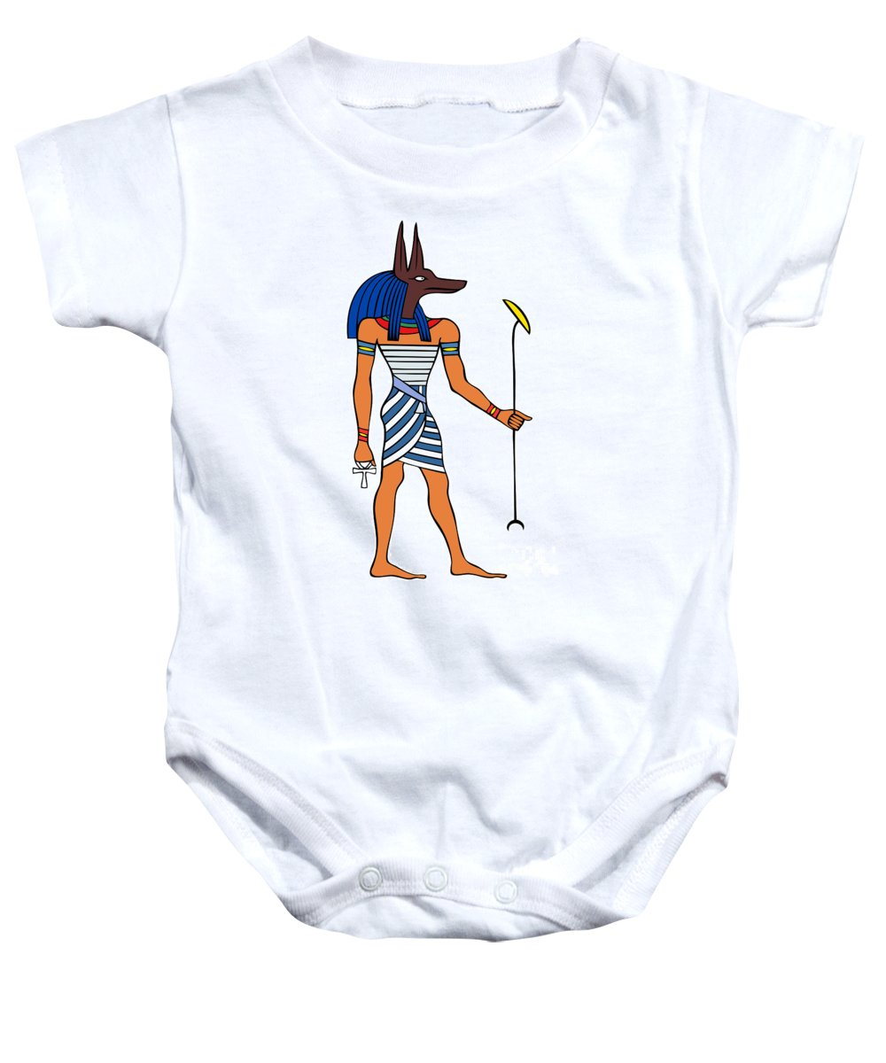 Relief Baby Onesie featuring the drawing Anubis by Michal Boubin