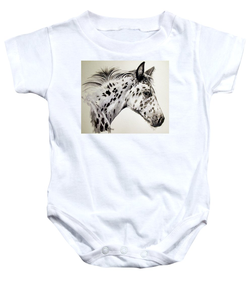 Appaloosa Horse Baby Onesie featuring the painting Appaloosa by Keran Sunaski Gilmore