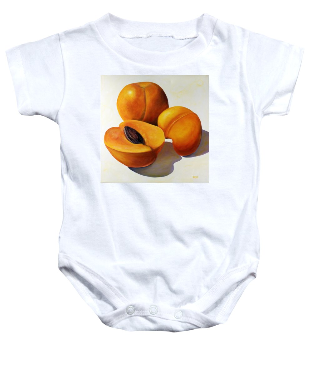 Apricots Baby Onesie featuring the painting Apricots by Shannon Grissom