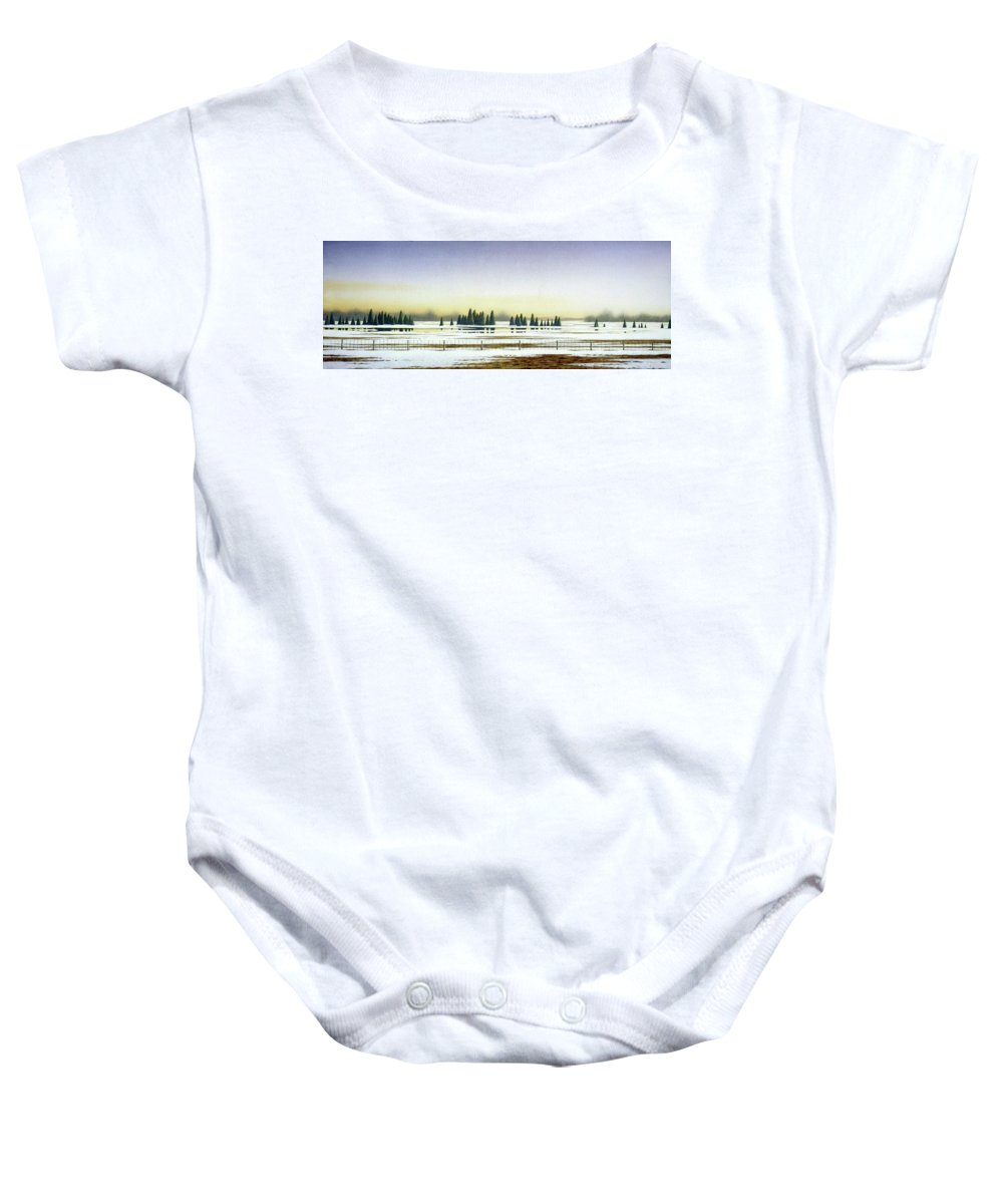 Rural Landscape Baby Onesie featuring the painting April Evening by Conrad Mieschke