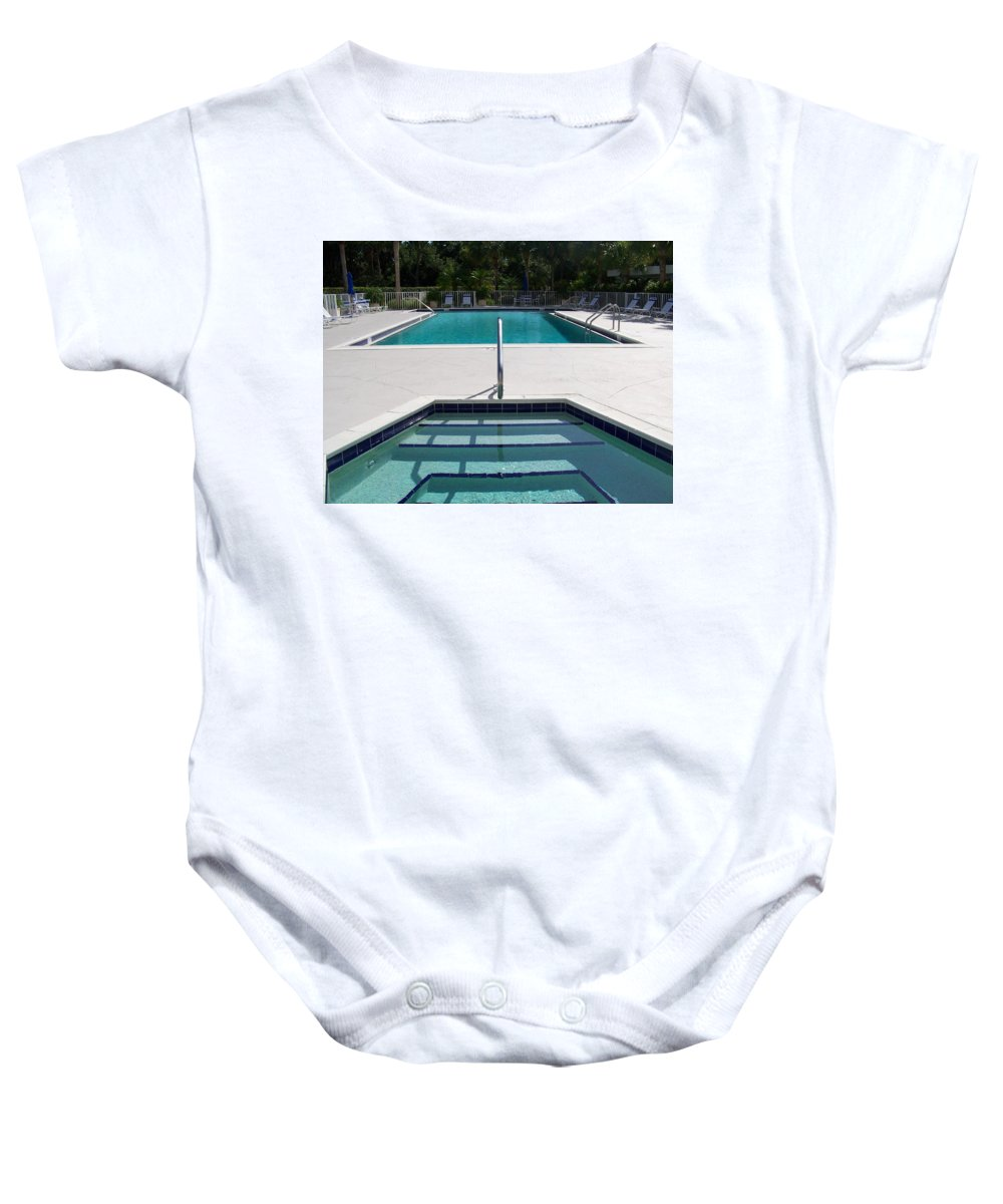 Pool Baby Onesie featuring the photograph Aqua by Laurie Paci