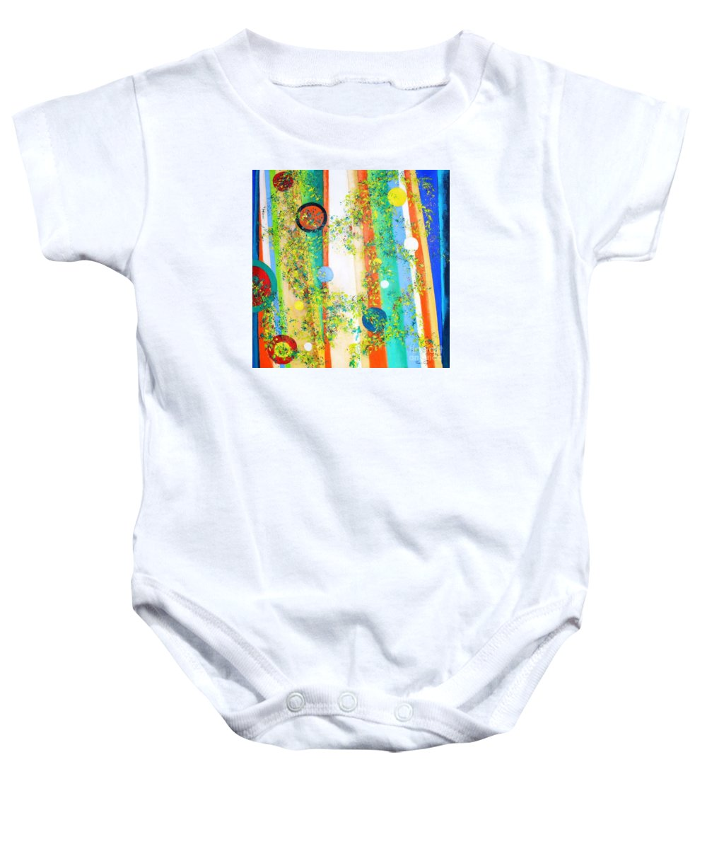 Abstract Nature Rounds Trees Baby Onesie featuring the painting Arabesque by Fernanda Cruz