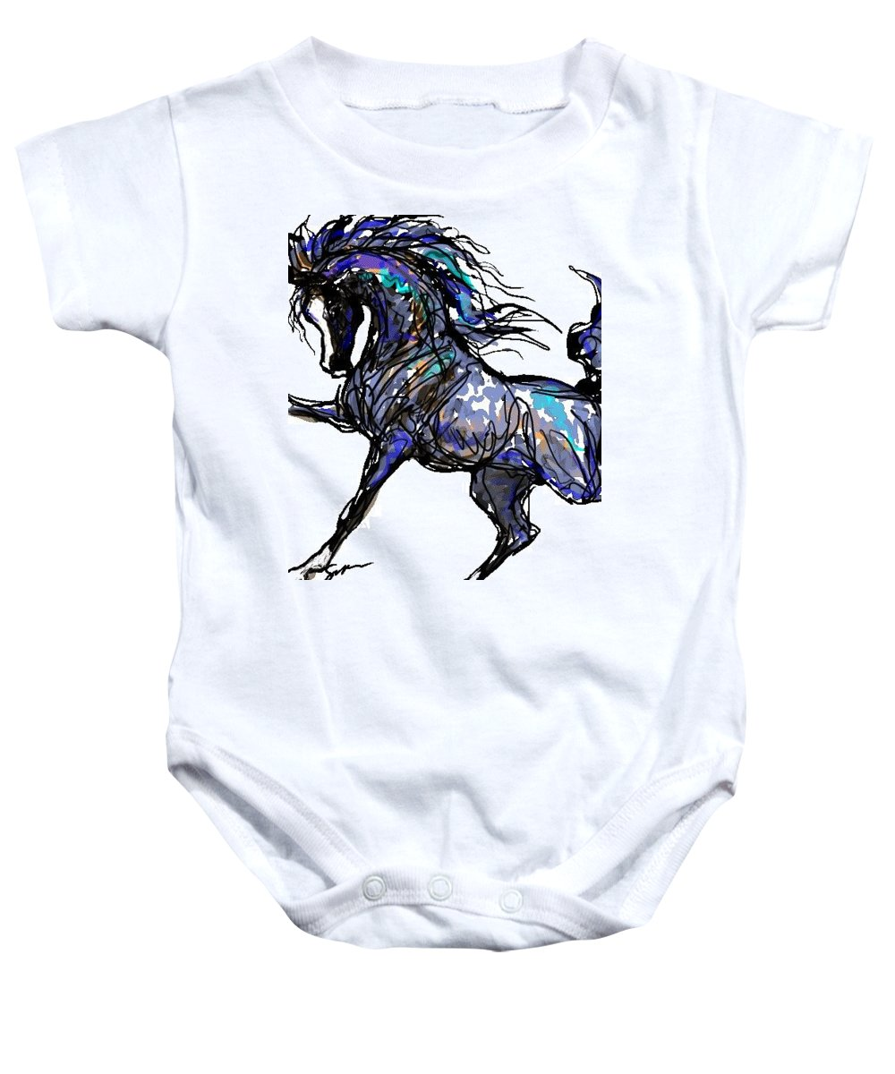Horse Card Baby Onesie featuring the digital art Arabian In Blue by Stacey Mayer