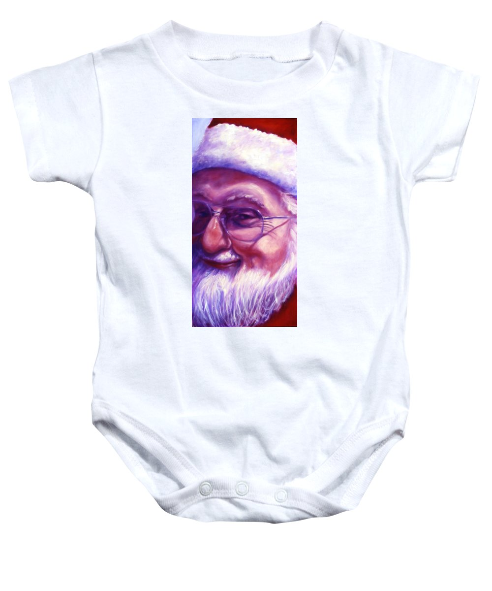 Portrait Baby Onesie featuring the painting Are You Sure You Have Been Nice by Shannon Grissom