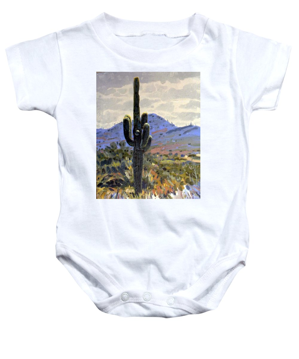 Saguaro Cactus Baby Onesie featuring the painting Arizona Icon by Donald Maier