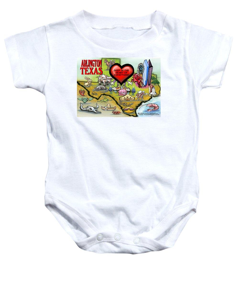 Arlington Baby Onesie featuring the digital art Arlington Texas Cartoon Map by Kevin Middleton