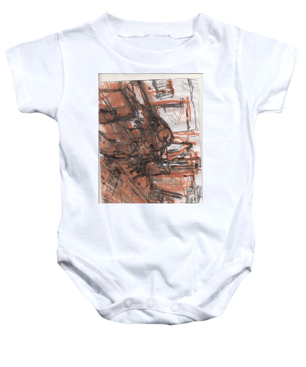 A1 Piece Of Cartridge Paper Done With Ink And Charcoal . Baby Onesie featuring the mixed media Art Class by David Owen