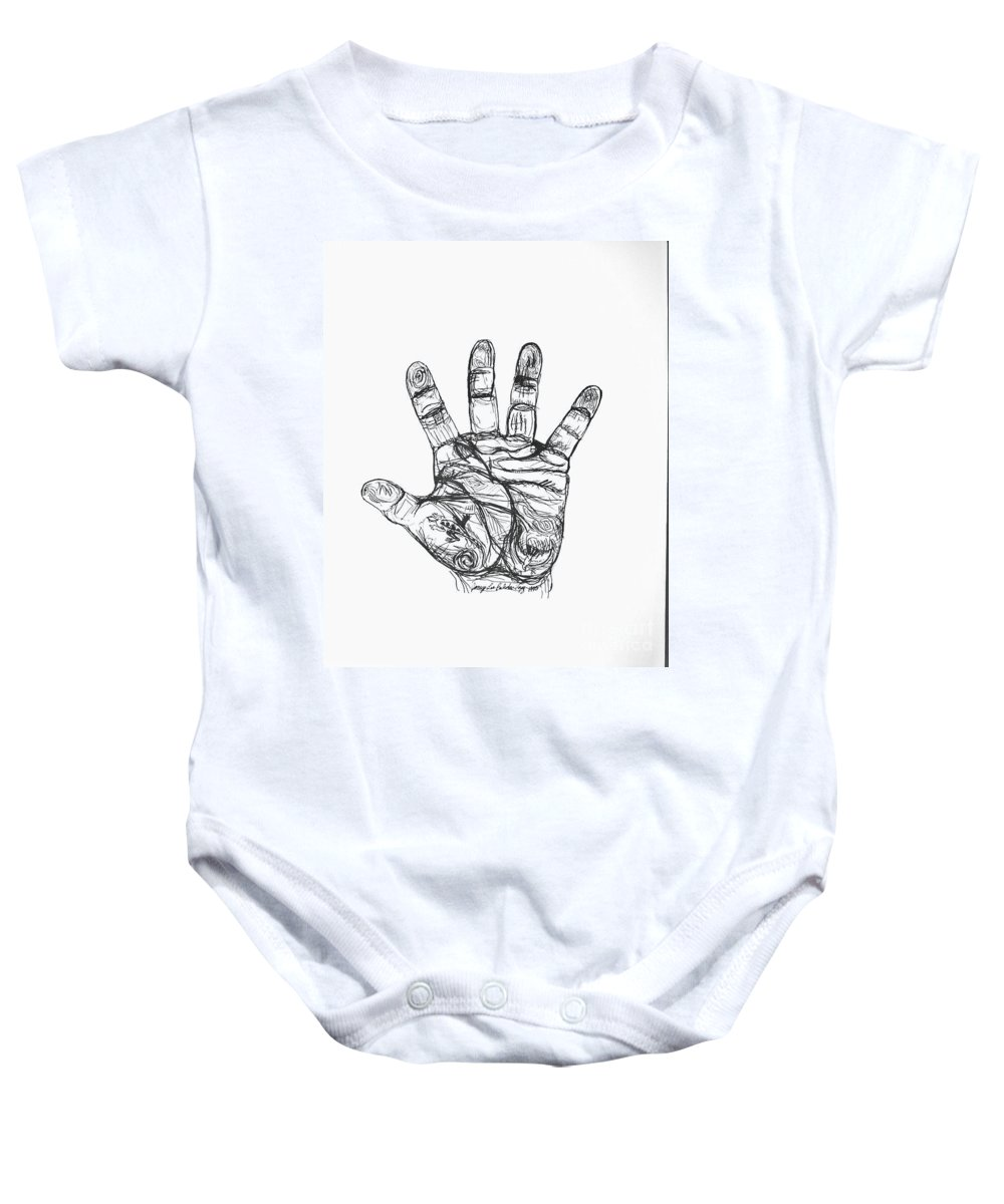 Hands Baby Onesie featuring the drawing Artists Hand Variation I by Jamey Balester