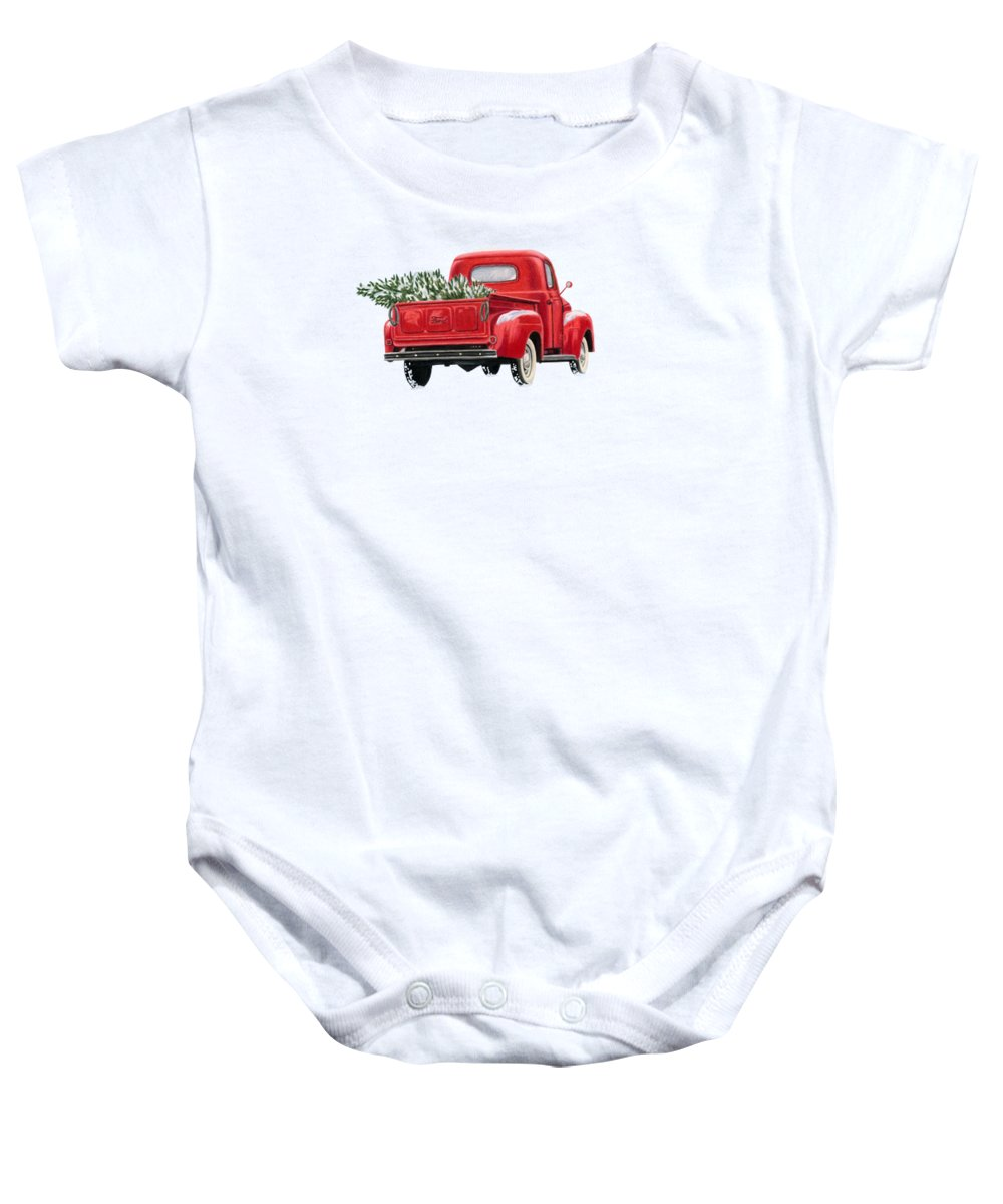 Christmas Truck Baby Onesie featuring the painting The Road Home by Sarah Batalka