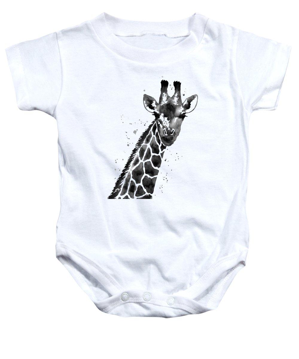 Giraffe Baby Onesie featuring the painting Giraffe in Black and White by Hailey E Herrera