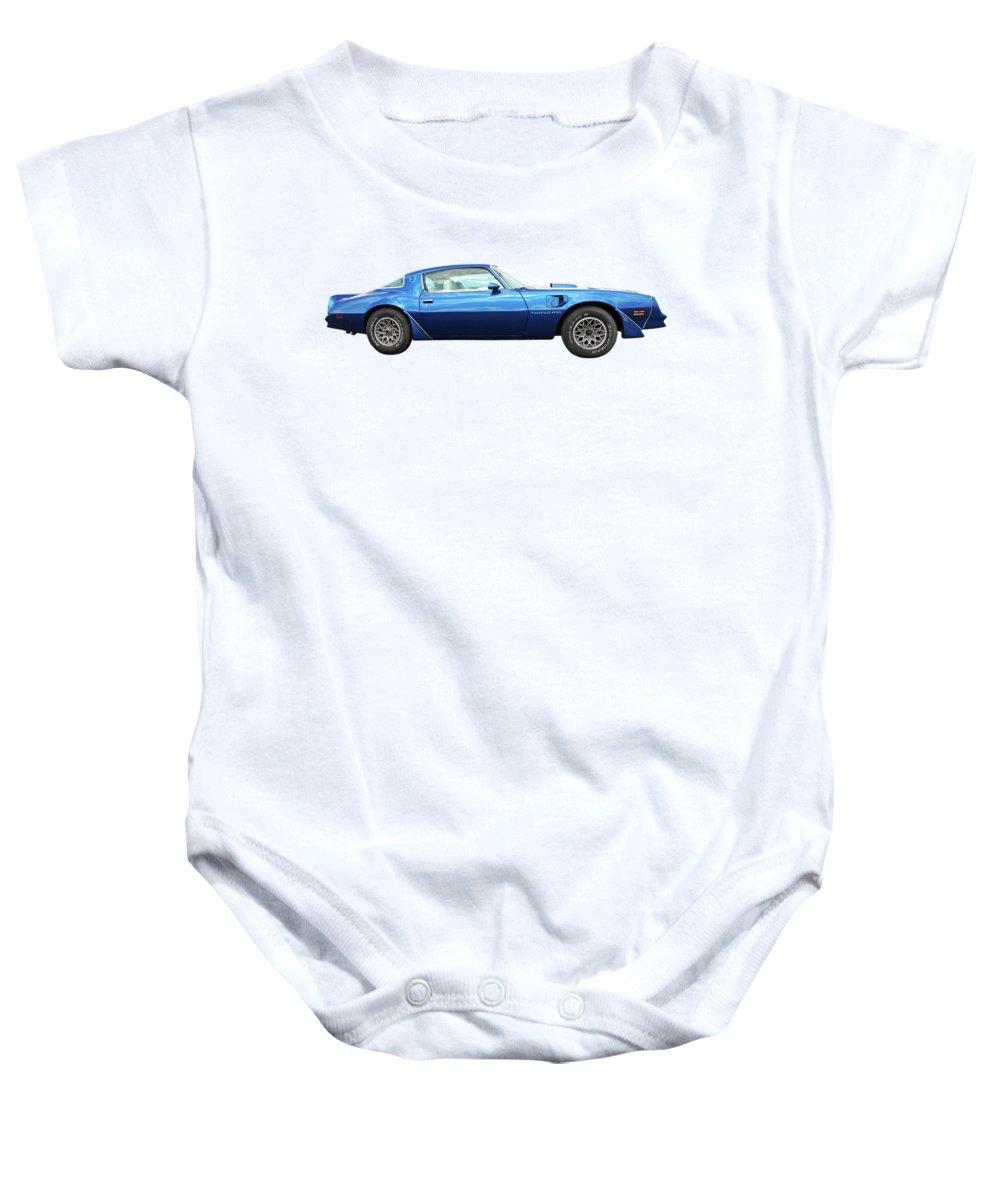 Pontiac Firebird Baby Onesie featuring the photograph Blue Pontiac Trans Am 1978 by Gill Billington