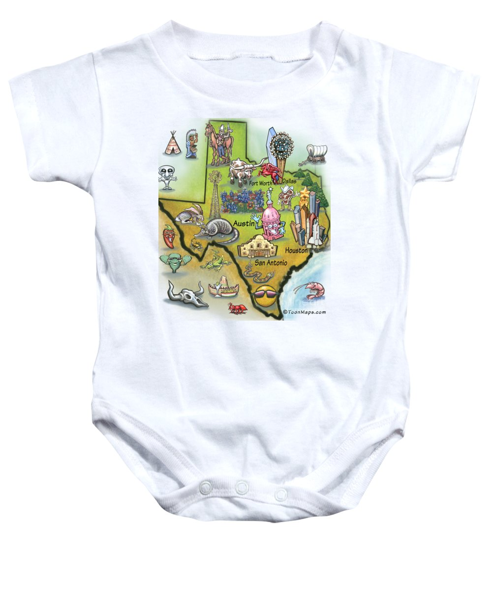 Texas Baby Onesie featuring the digital art Texas Cartoon Map by Kevin Middleton