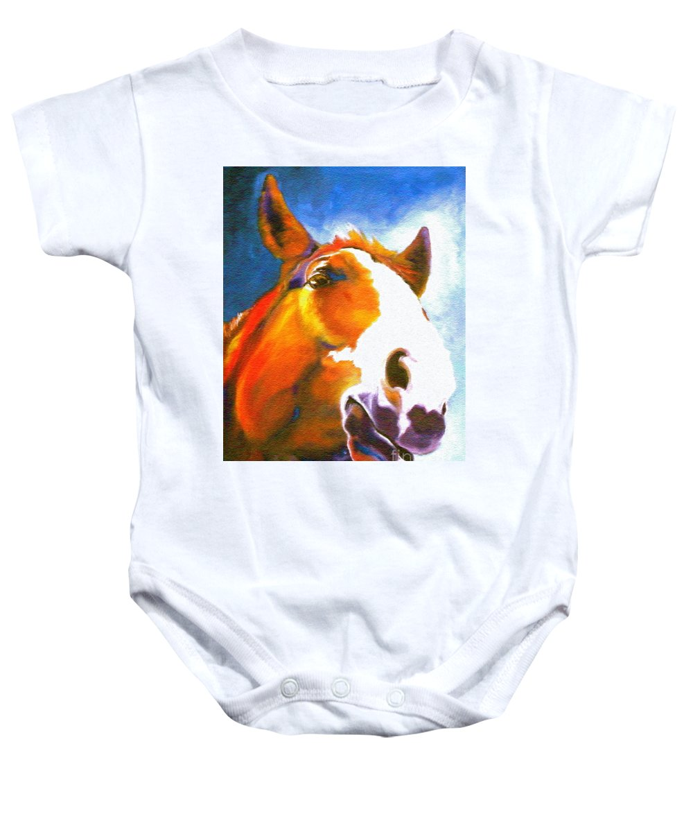 Animal Painting Paintings Baby Onesie featuring the painting As I Was Saying by Susan A Becker