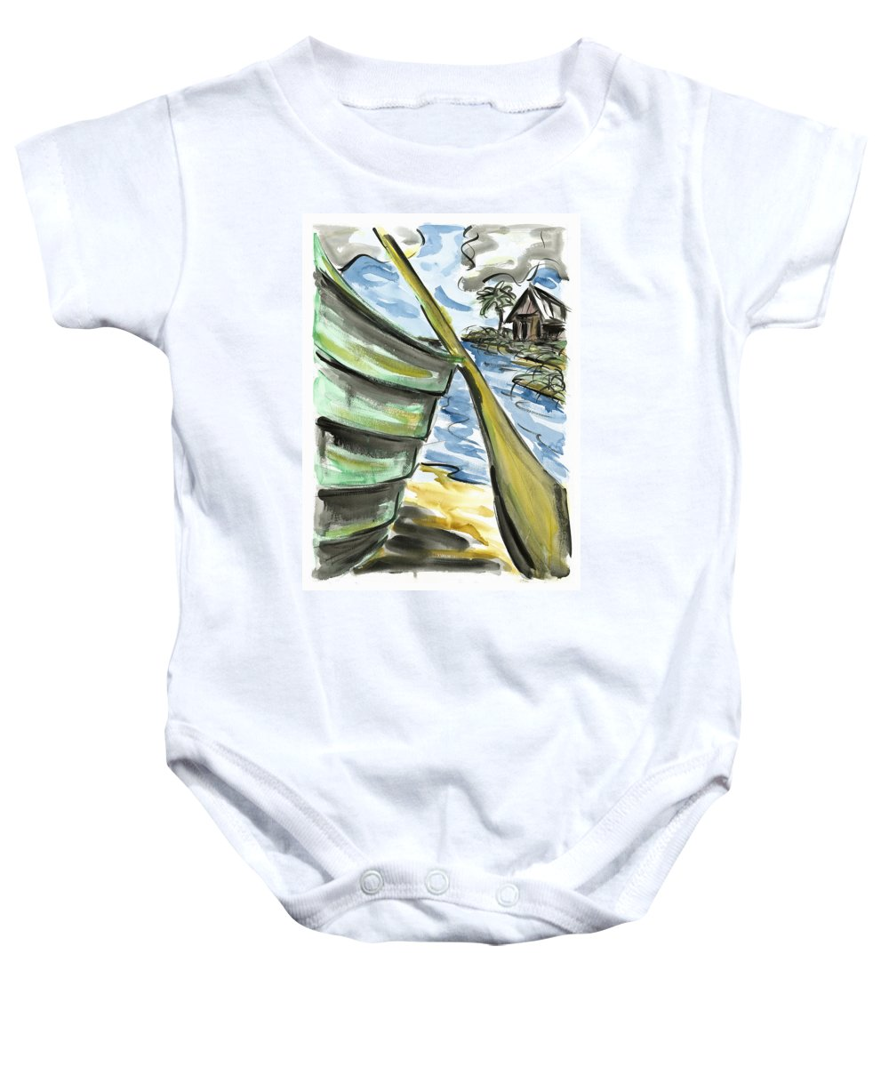 Seascape Baby Onesie featuring the painting Ashore by Robert Joyner