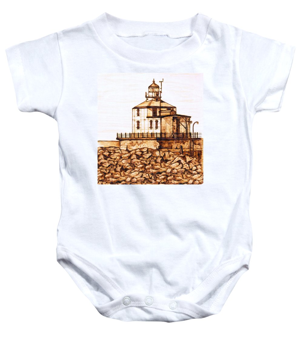 Lighthouse Baby Onesie featuring the pyrography Ashtabula Harbor by Danette Smith