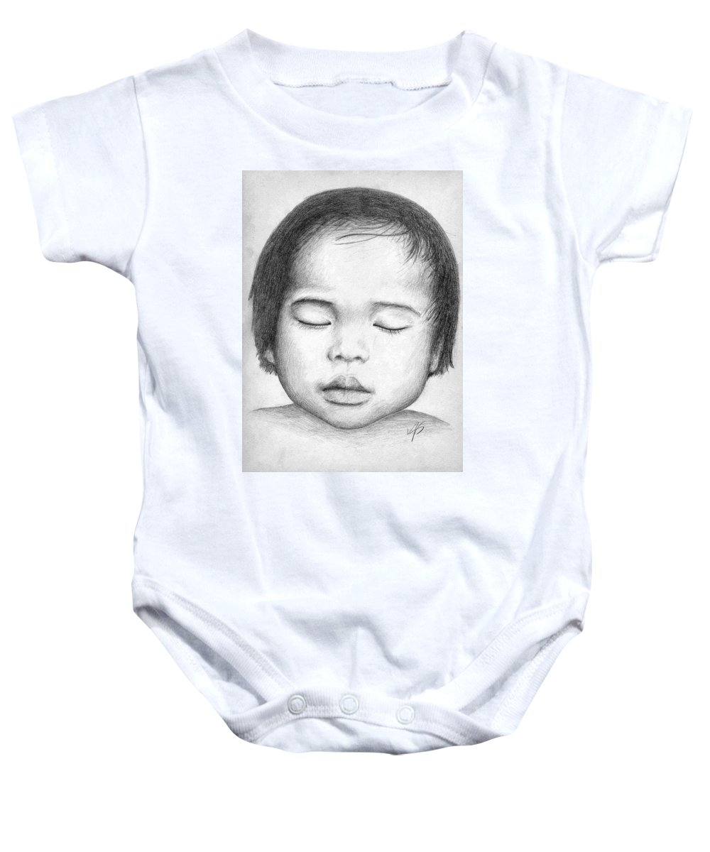Baby Baby Onesie featuring the drawing Asian Baby by Nicole Zeug