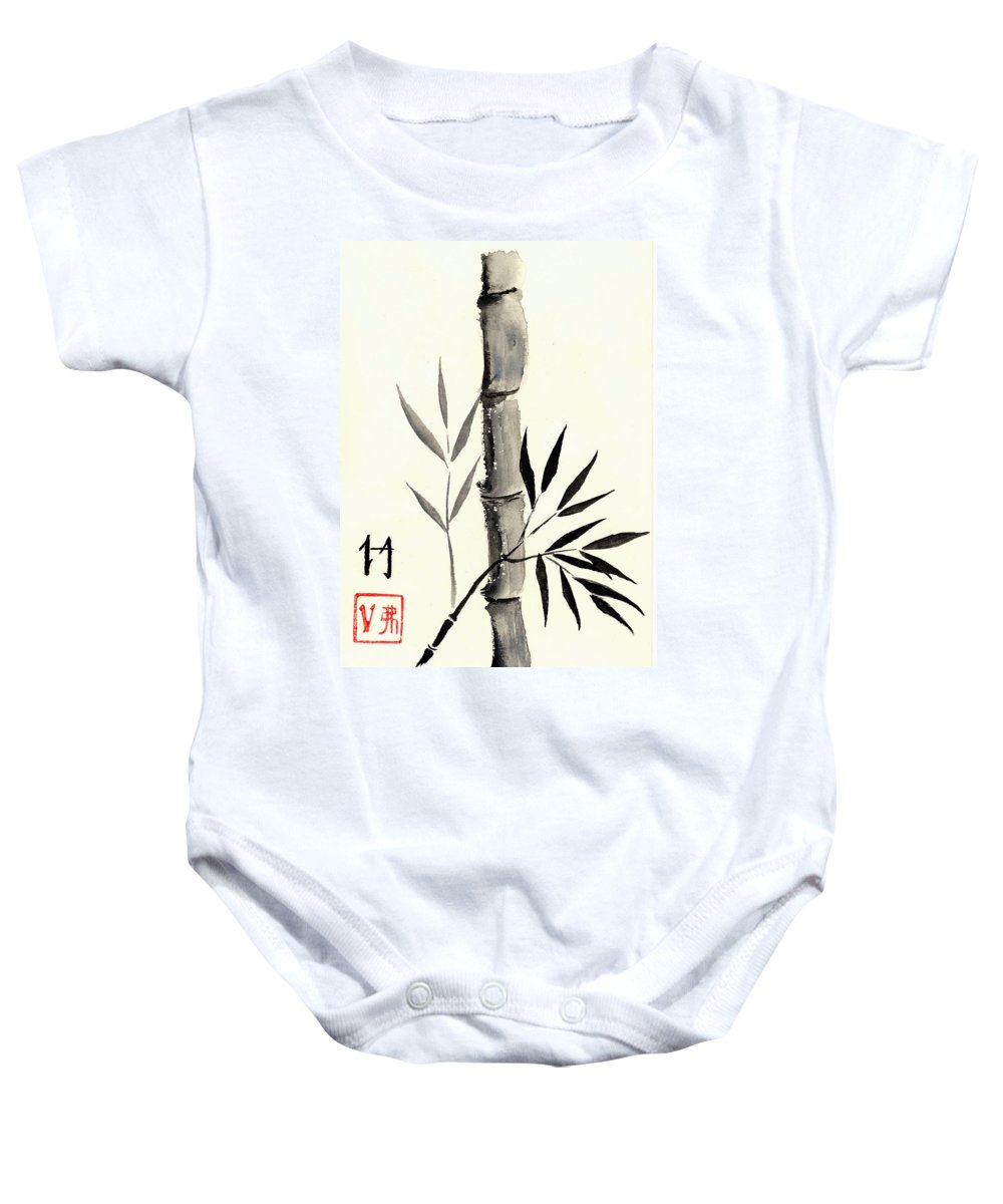 Asian Baby Onesie featuring the painting Asian Bamboo by Michael Vigliotti