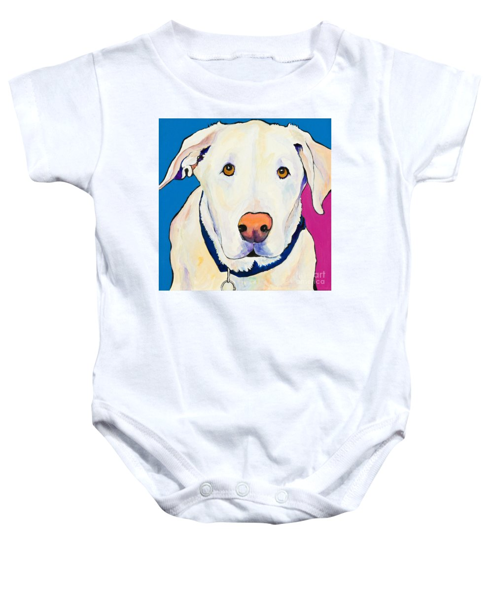 White Lab Yellow Lab Animal Paintings Golden Eyes Square Format Dogs Pets Rescued Baby Onesie featuring the painting Aslinn by Pat Saunders-White