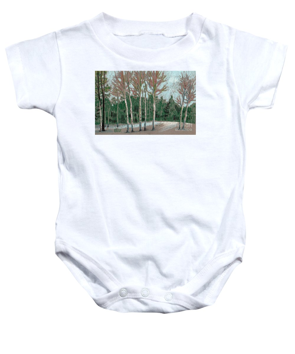 Aspens Baby Onesie featuring the drawing Aspen In The Snow by Donald Maier