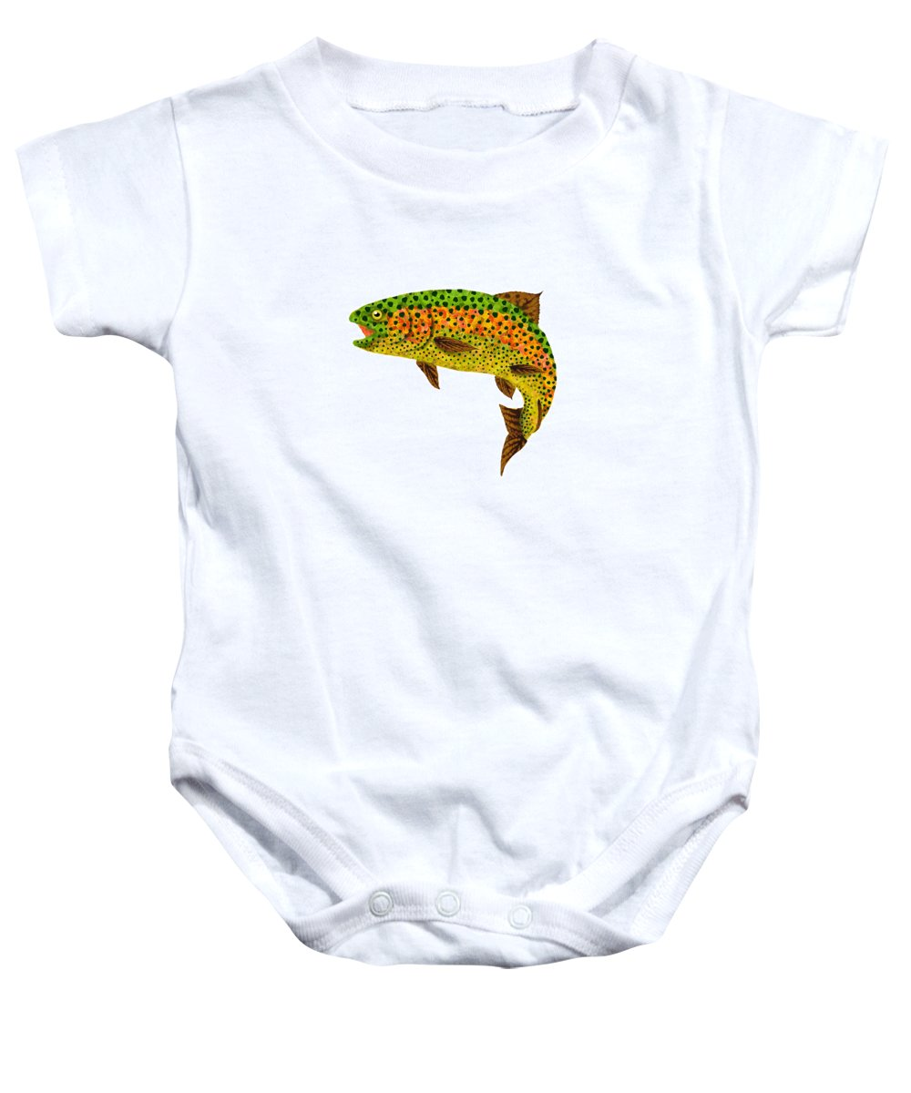 Trout Baby Onesie featuring the digital art Aspen Leaf Rainbow Trout 1 by Agustin Goba