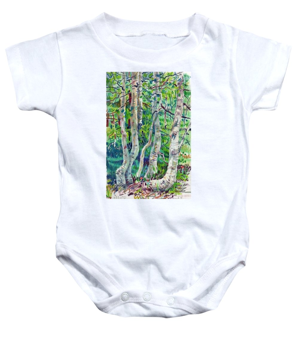 Aspens Baby Onesie featuring the drawing Aspens by Donald Maier