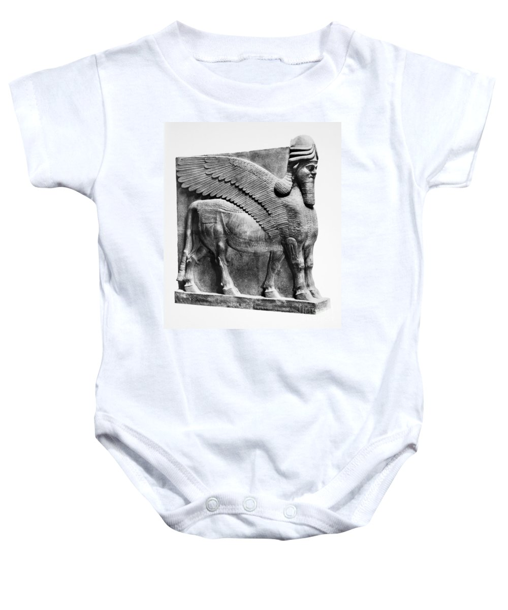 883 B.c Baby Onesie featuring the photograph Assyria: Bull Scultpure by Granger