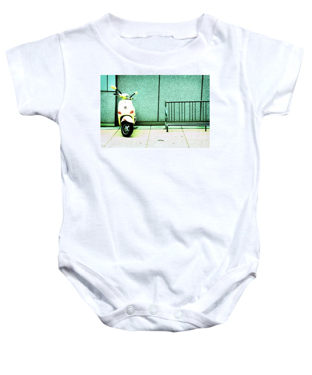 Vespa Baby Onesie featuring the photograph At Lunch by Dana DiPasquale