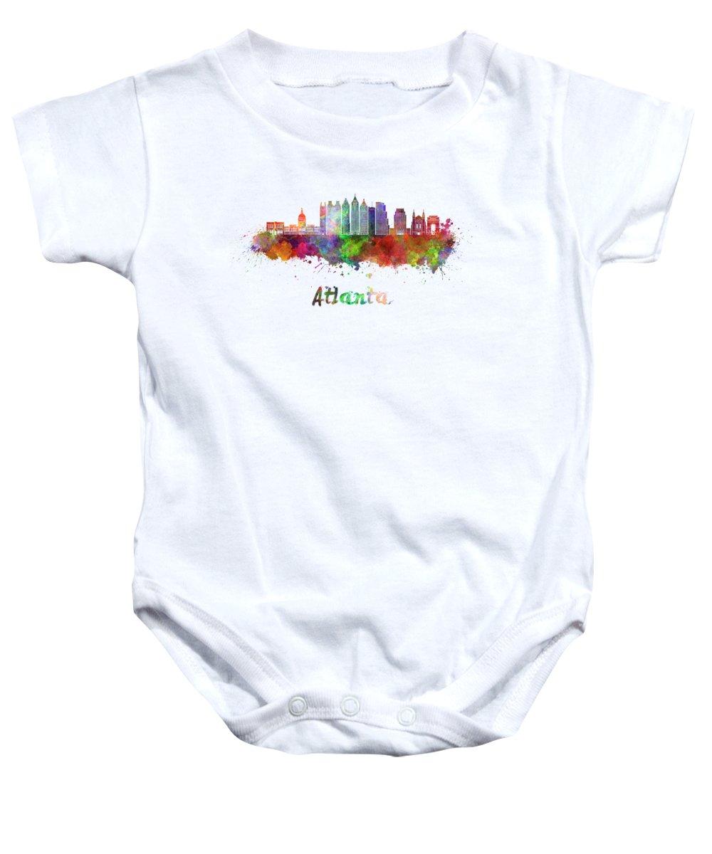 Atlanta Baby Onesie featuring the painting Atlanta V2 Skyline In Watercolor by Pablo Romero