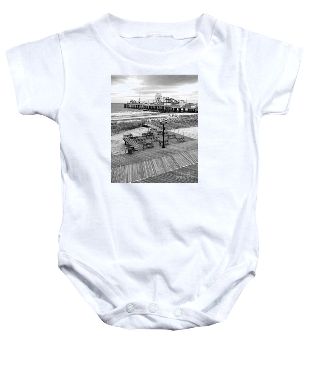 Bradley Baby Onesie featuring the photograph Atlantic City Boardwalk by Rich Despins