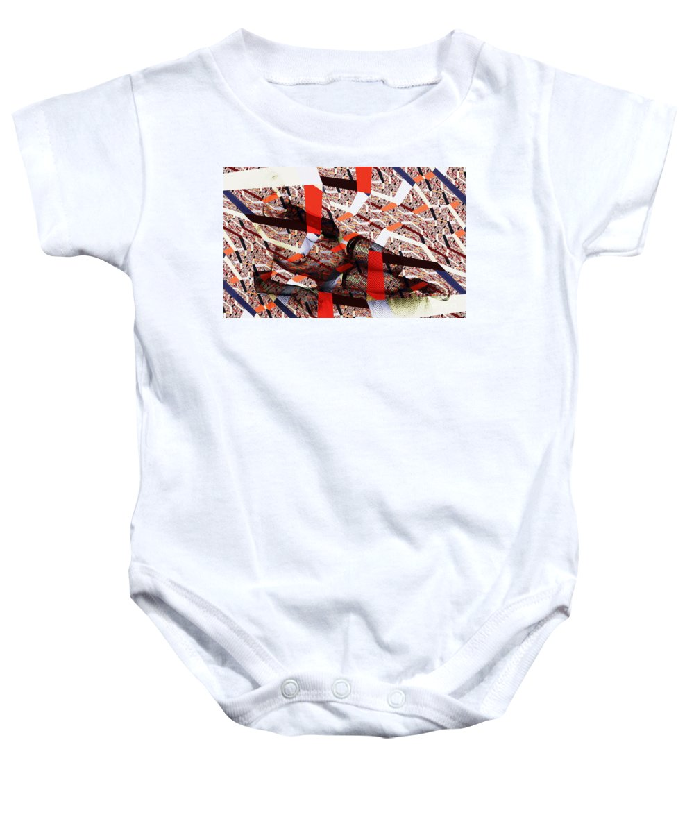 Clay Baby Onesie featuring the photograph Atomic Link Pinup by Clayton Bruster