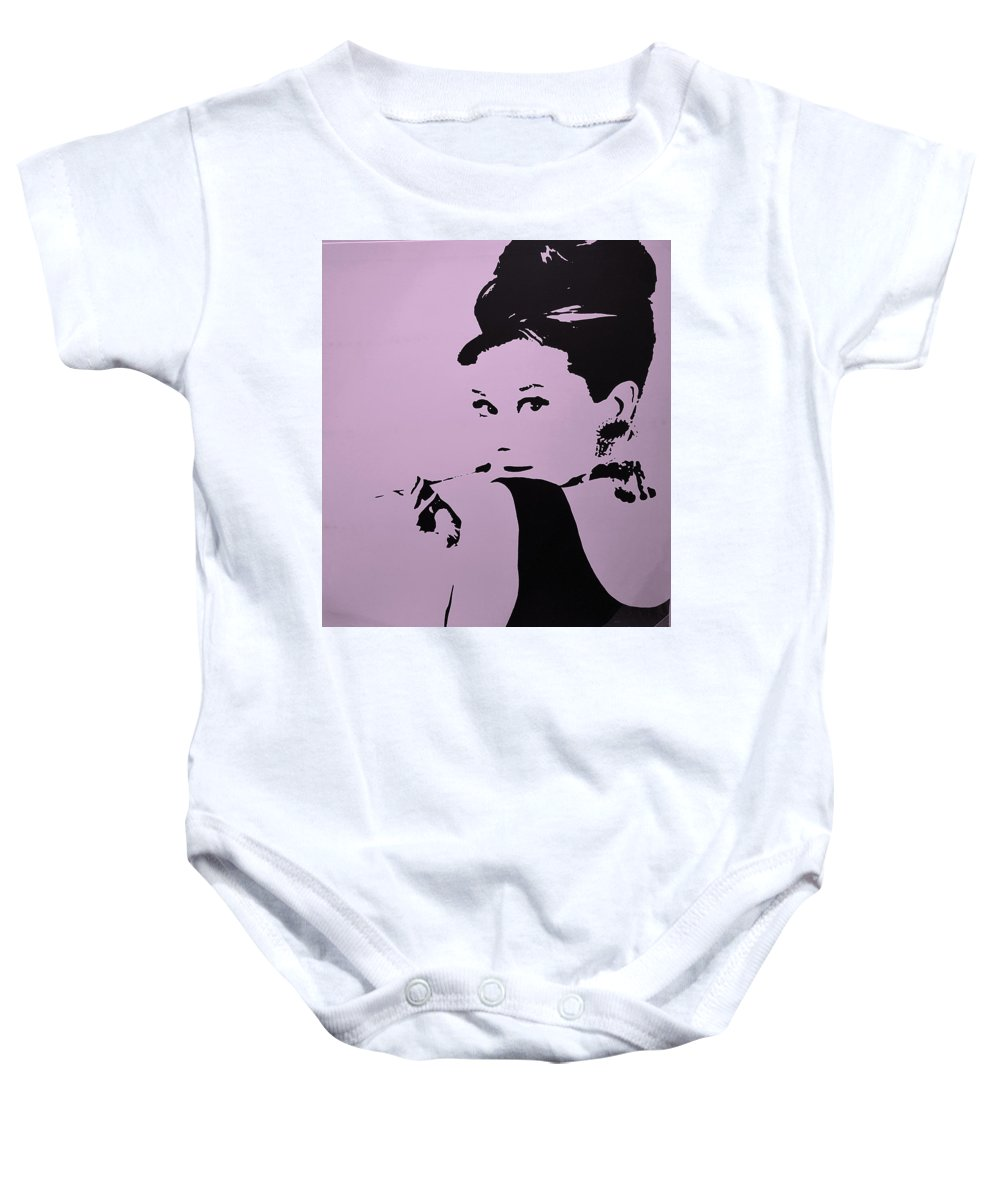 Audrey Hepburn Baby Onesie featuring the photograph Audrey Pink by Rob Hans